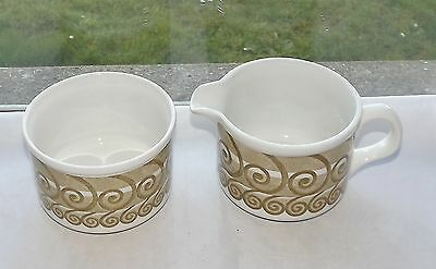 Hostess Tableware Pirouette Pattern Milk Jug & Sugar Bowl c1970s Vintage Retro