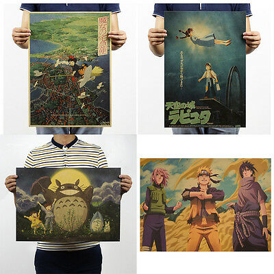 Retro Anime Poster Bar Cafe Home Decor Miyazaki Hayao Comic Kraft Paper Poster