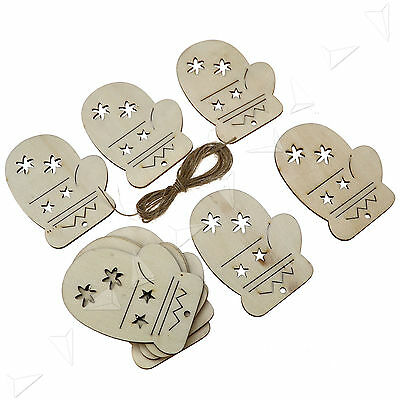 10 X Wooden   Christmas Xmas Tree Hangers Craft Tags Gift Glove Star shape