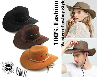 Unisex Mens Ladies Rodeo Western Cowboy Hat Brown Cattleman Style Hats Caps