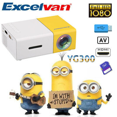 YG300 Mini 1080P LCD LED Projektor Beamer Multimedia Heimkino USB/SD/HDMI/AV DE