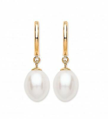 Hallmarked 9ct Gold & Real Freshwater Pearl Drop Stud Earrings 2.3cm Long