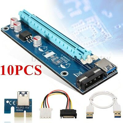 10x PCI-E Express 1xTo16x Extender Riser Card Adapter Power Cable USB 3.0 Mining
