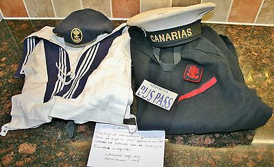 "Vintage Spanish Navy ""CANARIAS"" Uniform, Crackerjack, Jacket, Trousers, 2 Hats"
