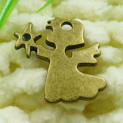 Free Ship 40 pieces Antique bronze angel charms 21x20mm #1840