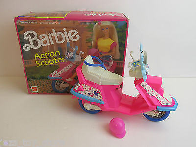 rare BOXED vintage BARBIE DOLL ACTION SCOOTER bike moped MATTEL 1990 COMPLETE