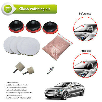 "70g / 230g 3"" Pad Cerium Oxide Windscreen Scratch Remover Glass Polishing Kit"