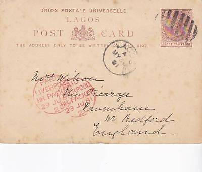 1881 Lagos Prepaid Pc To Uk Via Ship With Paid Liverpool Br Packet Cachet 30*