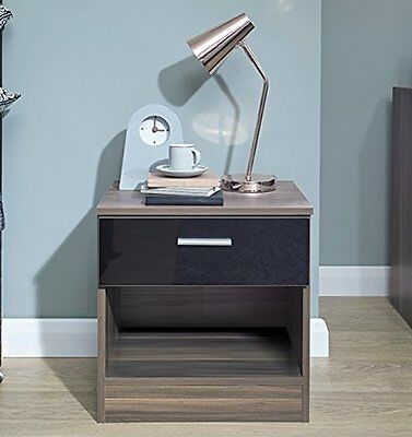 Bedside Cabinet Table Bedroom Gloss Drawer Nightstand Storage Chest Modern Style