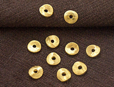 Karen hill tribe 24k Gold  Vermeil Style 10 Brushed Curve Disc Beads 6mm.