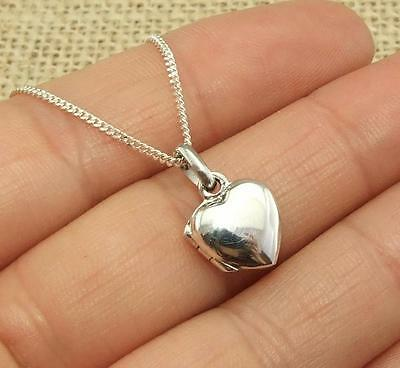 child's 925 Sterling Silver heart Shaped Locket Pendant Necklace