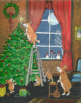 8x10 PRINT OF FOLK ART PAINTING PEMBROKE WELSH CORGI RYTA CHRISTMAS ART FOLK DOG