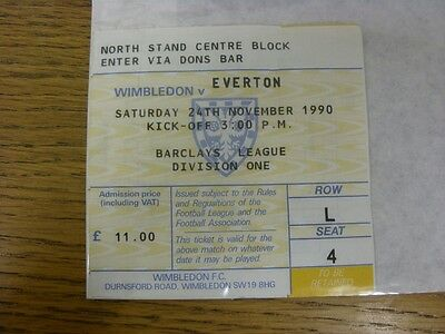 24/11/1990 Ticket: Wimbledon v Everton (folded). Thanks for viewing this item, b