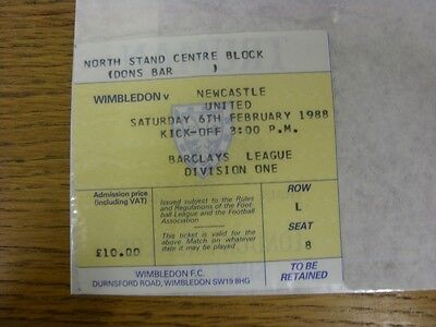 06/02/1988 Ticket: Wimbledon v Newcastle United (folded). Thanks for viewing thi