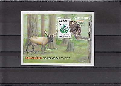 Timbre Stamp Bloc Grenade Y&t#309  Oiseau Chouette Owl Neuf**/mnh-Mint 1992 ~A05