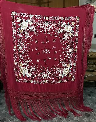 "Antique Silk Hand Embroidered Piano Shawl 53"" By 54"" Fringe 20"