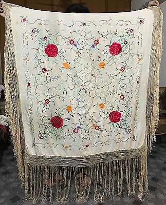 "Antique Chinese Hand Embroidered Piano Shawl Pure Silk 45"" By 45"" Fringe17"""