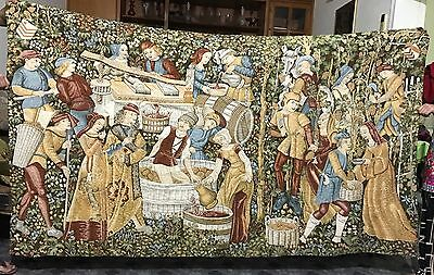 A Decorative Medieval Style French Tapestry Wine Making Scan 137 X 236 Cm