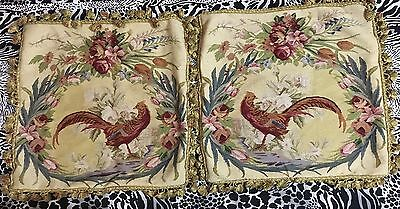 "2 ANTIQUE 19C AUBUSSON FRENCH HAND WOVEN TAPESTRY CUSHION 22"" By 22"""