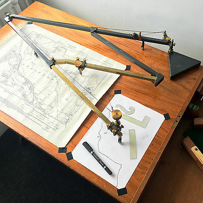 WWII Cartography Pantograph for Battle Plans w Provenance MAP ENLARGER Desk Tool