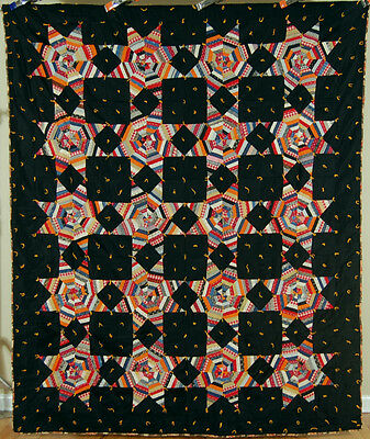 VIBRANT Vintage 1890s String Stars Antique Quilt ~NICE FABRICS, BLACK BACKGROUND