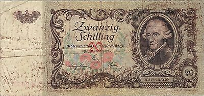 1950 20 Schilling Austria Currency Banknote Note Money Bank Bill Cash Rare