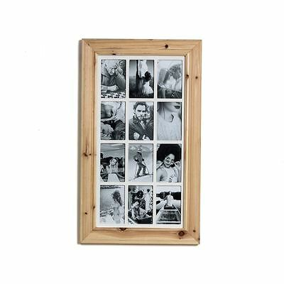 Deluxe 12 Aperture Solid Pine Wood Multi Photo Frame ~ Natural Brushed Pine