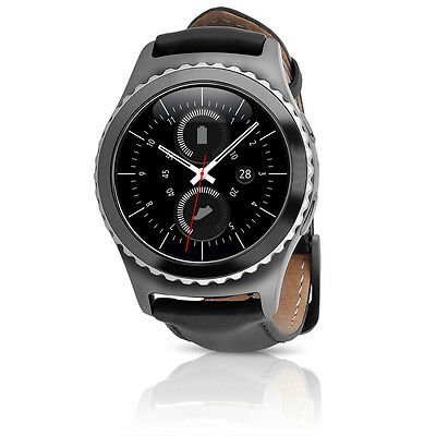 Samsung Gear S2 Classic (Verizon) Android Smartwatch w/ LARGE Leather Band Black