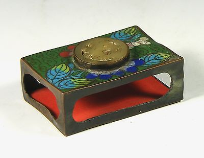 Antique Cloisonne Matchbox Holder With Jade Roundel