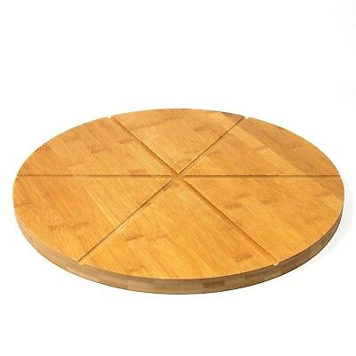"""Woodluv Bamboo Pizza Cake Serving Cutting Platter Board, 13"""" (30cm) 6 sections"""