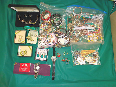 110PC Lot of Vintage to Now Jewelry Necklaces, Pins, Earrings & More Some Signed