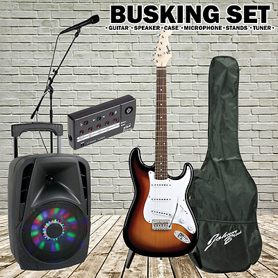Sunburst Electric Guitar with Tuner Kit Inc Portable 300w Speaker, Mic & Stands