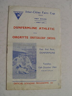 Dunfermline v Orgryte 1964/65 Fairs Cup