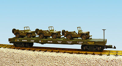 USA Trains G Scale  R1791 US Marine Corps Flat Car #0156 With 3 JEEPS-GREEN