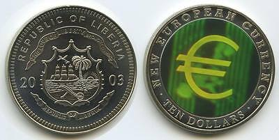 GS069 - Liberia 10 Dollars 2003 EURO Multicolor Hologramm NEW EUROPEAN CURRENCY