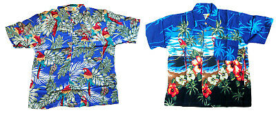 BOY'S LOUD HAWAIIAN SHIRT BLUE WITH PARROTS SIZE 10 -16 summer holiday party new