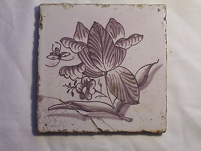 Delft Tile c. 18th / 19th  century Bee & Flower  (d)