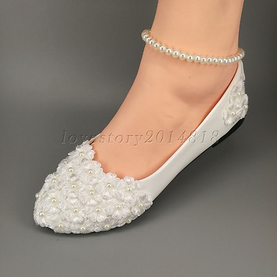Wedding shoes Lace white crystal Bridal shoes flats/high heel Bridesmaid shoes
