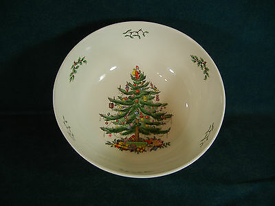 "Spode Christmas Tree Large 9 1/2"" Diameter Round Serving Bowl Made in England"