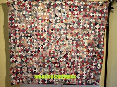 "COLORFUL FOUR PATCH VARIATION  ANTIQUE  QUILT TOP  HAND PIECED 1880s   79"" by 71"