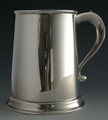 GEORGIAN STYLE LARGE ENGLISH STERLING SILVER PINT TANKARD 1973 MINT 308g