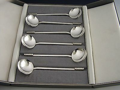 ENGLISH MODERNIST STERLING SILVER ICE CREAM SPOONS 1990 135g SUPERB CASED