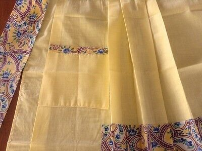 Hostess Half Apron, Pleated Yellow, Blue Flowers, Patchwork, Paisley