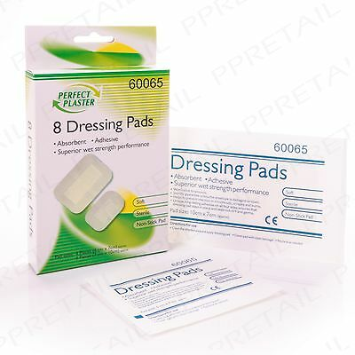 8 x ASSORTED DRESSING PADS First Aid/Medical Kit Long Lasting Adhesive Plaster