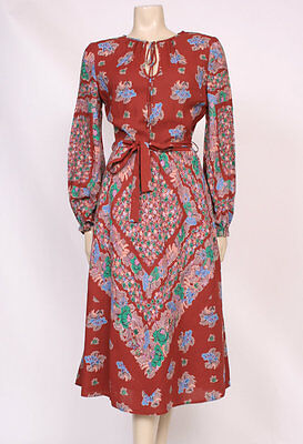 Original VINTAGE 1970'S 70'S HIPPY BOHO BROWN GREEN PINK PRINTED DAY DRESS! UK10