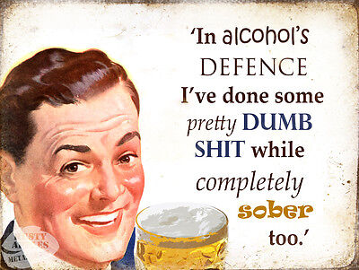 In Alcohol Defence: Funny Retro Vintage Style Wall Metal Sign Home Decor Gift