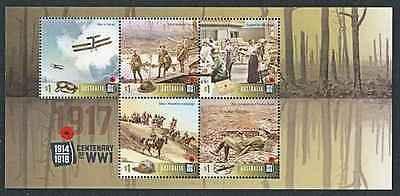 AUSTRALIA 2017 CENTENARY of WW1 1917 MS  5 STAMPS MNH