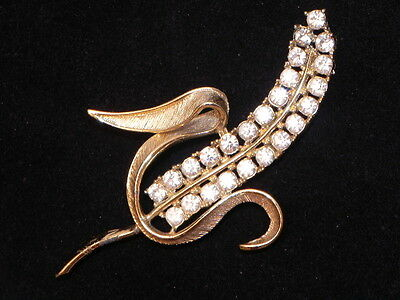 Vintage Sarah Coventry Clear Rhinestone Gold Tone Radiance Wheat Corn Pin Brooch