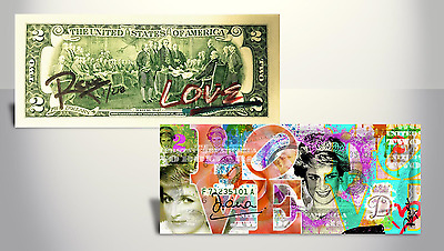 PRINCESS DIANA Rency ART GENUINE U.S. $2 Bill Ltd 218 HAND-SIGNED & Numbered