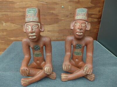 "Vintage Terracotta Clay Pottery Ceramic Inca Mayan Aztec Figurines 8.5"" H Mexico"